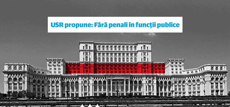 USR strânge semnături pentru a interzice prin Constituție penalii în funcții publice