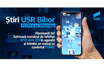 USR Bihor lansează newsletter-ul Info.USR Bihor pe WhatsApp!